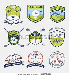 Set of golf club, golf championship, golf gear and equipment badge logo | Vector…