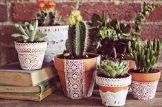 DIY Lace Flower Pots(via A Beautiful Mess)