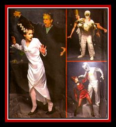 SPOOKY COSTUME COLLECTION-Adult Costume Sewing Pattern-Frankenstein & Bride- The Mummy-Cleopatra-Space Alien-Sexy Babe-All Sizes-Mega Rare by FarfallaDesignStudio on Etsy