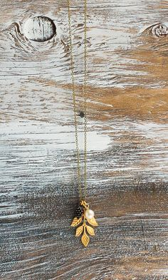 Pine Cone Necklace Gold Leaf #autumn #necklace #leaf