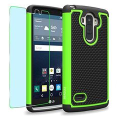 LG G Stylo / G4 Stylus / LS770 / H631 / MS631 Case, INNOVAA Smart Grid Defender Armor Case (Not Compatible with LG G4) W/ Free Screen Protector & Touch Screen Stylus Pen - Black/Green - Brought to you by Avarsha.com