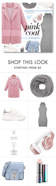 """Pink  coat"" by len-chica ❤ liked on Polyvore featuring N.Peal, Alexander McQueen, StyleNanda, Beats by Dr. Dre, Karl Lagerfeld and MAC Cosmetics"