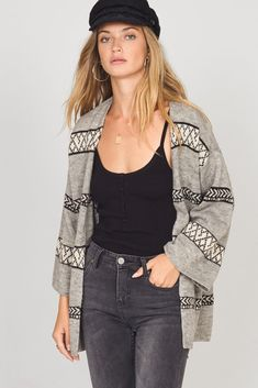The Let's Chill Sweater from Amuse Society is a solid yarn sweater with an open front. That perfect sweater that goes with everything is here. Military Jacket, Sweater Cardigan, Heather Grey, Chill, Kimono Top, Sweaters For Women, Let It Be, My Style, Sleeves