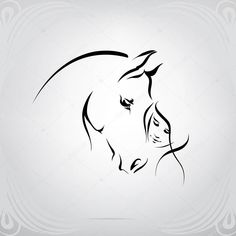 Silhouette of the girl and horse Silhouette Tattoos, Horse Silhouette, Abstract Horse Painting, Horse Clip Art, Horse Tattoo Design, Cute Simple Tattoos, Horse Wallpaper, Horse Illustration, Horse Drawings