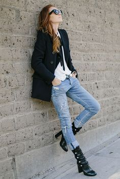 fall / winter - street chic style - street style - fall outfits - casual outfits - black double breasted coat + black and white tie neck shirt + boyfriend jeans + black buttoned up booties + black sunglasses