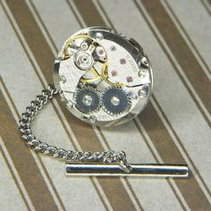 89f89e7acb24 Men's Wedding Gift Steampunk Watch Tie Tack Lapel PIn - Torch SOLDERED -  Vintage Silver Circular Movement w Surface Texture - Birthday