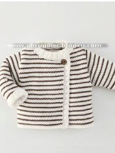 Baby Knitting Patterns Sweter Çeket [ 'Ide til Grete', 'Simple cardigan with stripes' ] # # Baby Knitting Patterns, Knitting For Kids, Crochet For Kids, Baby Patterns, Free Knitting, Crochet Baby, Knit Crochet, Baby Outfits, Kids Outfits
