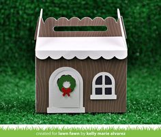 scalloped treat box winter house add-on   Lawn Fawn