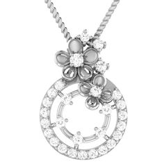 White Gold Ct Round Natural Diamond Circle Floral Pendant W/ Chain Washer Necklace, Pendant Necklace, White Gold Jewelry, Vintage Diamond, Flower Pendant, Vintage Flowers, Natural Diamonds, Jewelry Watches, Fine Jewelry