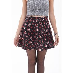 Forever 21 Women's  Floral Scuba Knit Skater Skirt ($8.99) ❤ liked on Polyvore featuring skirts, patterned skater skirt, skater skirt, print skater skirt, floral print skirt and knit skirt