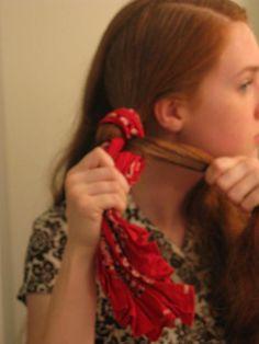 Wavy hair with bandana