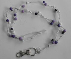 Avainnauha #3 by Miss Piggy / Key chain, ID holder, made with wooden beads and waxed cord