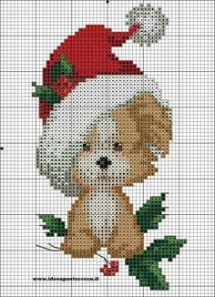 Cross Stitch *<3* schema cagnolino natalzio