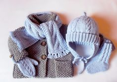 Handknit by PillandBaby Hat and Scarf SET in baby wool/ por Pilland