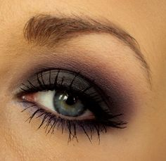 purple smokey and a hint of lilac on the bottom with tons of coats of mascara