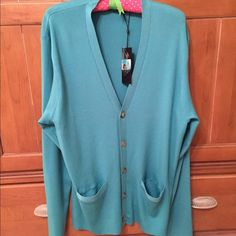 "NWT Ralph Lauren Black Label Cardigan Ralph Lauren Black Label button up ribbed cardigan with front pockets.  Teal green color.  100% Merino wool, made in Italy.  Size XXL large, Approx 24"" across front from armpit to armpit, approx 28"" in length from top of neck/shoulder to bottom hem. Ralph Lauren Sweaters Cardigans"