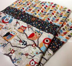 Baby Quilt Gender Neutral Owls Modern Scandinavian by CoolSpool