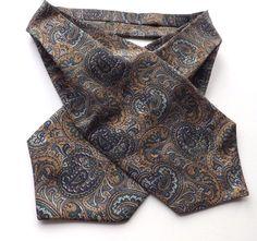 VINTAGE DAY CRAVAT ASCOT Green, Gold, Blue, Multi Paisley Design FREE P&P #Cravat