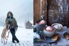 Sledding fun and peppermint hot cocoa.  The New Victorian Ruralist: Stunning Winter inspirations from photographer Ditte Isager...