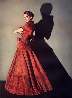 Jeanne Lanvin Red Evening Dress 1953