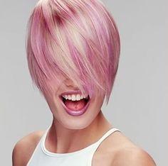 blonde pink black hair bob - Google Search
