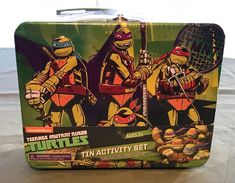 Teenage Mutant Ninja Turtles Activity set Tin Lunch Box Stickers Markers n more #Viacom