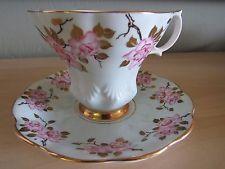 Vintage Royal Albert Bone China Tulip Shape Tea Cup & Saucer Blue & Pink Roses