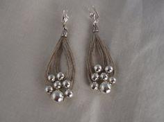 Earrings linen thread loop fantasy metalic pearl silver colour mediterranean white summer handmade natural