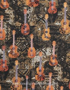 Hawaiian cotton fabric. #ukulele #hawaiianfabric #tribal #tapa #cotton