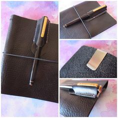 """Introducing the new """"Pen Pocket"""" clip on leather pen holder. Why not get a few in different colours and just swap them out to match your different planners. They are made of Italian kid leather and will protect your favourite fancy pen. Paperflower.com.au #paperflower #paperflowerds #planner #plannergeek #plannergirl #journal #pensleeve #penpocket #midori #hobonichi #filofax #ringedplanner by paperflowerdesigns"""