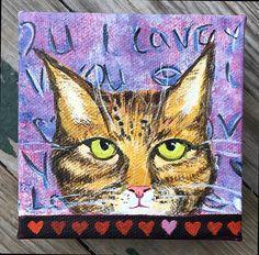 Valentine's Day Original Cat Painting  Tiger by SilentMyloStudio