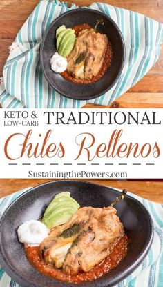 How to Make Low-Carb Chile Rellenos | Chile Rellenos are the Traditional Mexican stuffed pepper. These are filled with meunster cheese and shredded beef. Quick to make and naturally gluten-free, these keto-friendly stuffed poblanos are sure to be a hit! Click through to get the recipe! Macros per pepper: 380 Calories, 29g Fat, 4g Net Carbs (7g carbs - 4g fiber), 25g Protein