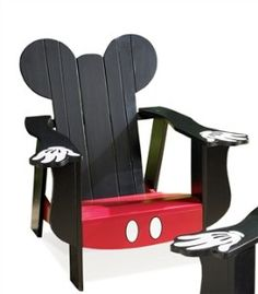 Disney Mickey Mouse Adirondack Chair - adorable, I want to paint one like this, and one like Minnie Mouse (but the mini kid size Adirondacks, for my mini me!)