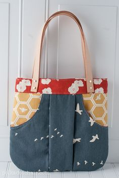 birchfabrics: Tutorial: Attaching Leather Straps To Your Tote by Polka Dot Chair