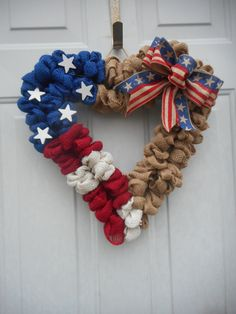 Patriotic wreath Red White and Blue Wreath by ChloesCraftCloset