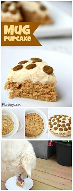 Microwave Mug Pupcake - a quick, microwaveable dog treat! This cake bakes in 90 seconds and is topped with a simple two-ingredient frosting! dog cake Microwave Mug Pupcake Dog Cake Recipes, Dog Biscuit Recipes, Dog Treat Recipes, Dog Food Recipes, Muffin Recipes, Baking Recipes, Diy Dog Treats, Puppy Treats, Homemade Dog Treats