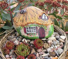 Hand Painted Rock Cottage Fairy House Gnome Home Breast Cancer Benefit