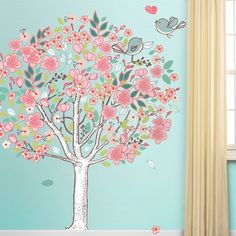 Gorgeous tree mural wall sticker kit! Great for girls of all ages! Mess-free, repositionable & removable! layerable No white edges – looks like it is painte