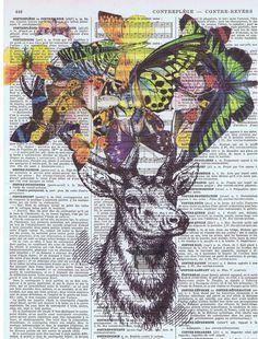 DeerButterfliesCollageFantasy Antique Book by studioflowerpower, $9.50