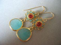 Aqua Glass Floral EarringsBridesmaids Jewelry by JulianaWJewelry, $32.00