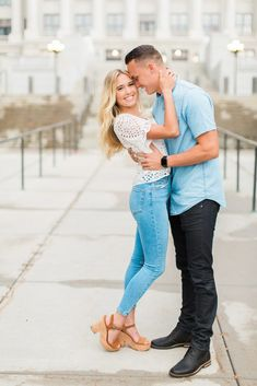 Utah State Capitol Engagement Photography | Tori & Tanner - Abbey Kyhl Winter Engagement Photos, Engagement Photo Outfits, Engagement Pictures, Casual Engagement Outfit, Country Engagement, Fall Engagement, Engagement Ideas, Couple Photography Poses, Engagement Photography