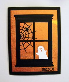 All of these cards were made using the Poppy Stamps Grand Madison Window die:      The spider is one of the spiders from the Memory Box Scar...