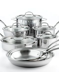 Calphalon Cookware, Tri-Ply Stainless Steel 13 Piece Set. The cookware of the gods. Not really, but you get the picture lol