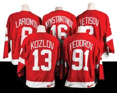 Detroit Red Wings Gear Up for District Detroit: Russian Five's jerseys worn during the '97 Stanley Cup playoffs among the mementos waiting to be displayed at Little Caesars Arena.