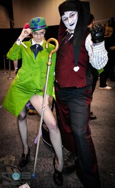 female Riddler and male Harley Quinn, Batman villain cosplay at Melbourne Oz Comic Con - Saturday, Day 1, 2012