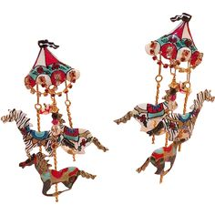 Lunch At The Ritz Carousel Merry Go Round Earrings from KLMAntiques on Ruby Lane
