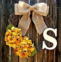Golden Hydrangea Monogrammed Wreath - Initial Wreath - Personalized Wreath - Fall Wreath - Monogram Wreath - Grapevine Wreath - Burlap Bow
