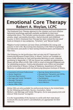 """Robert Moylan LCPC: Get your CEU in """"Emotional Core Therapy"""" today!"""