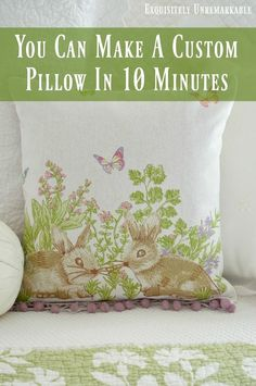 Make a custom pillow or pillow cover in a jiffy from a dish towel. And you don