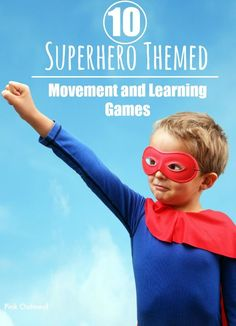 10 Superhero Themed Movement and Learning Games- Pink Oatmeal Superhero Themed Learning and Movement Ideas Super Hero Activities, Gross Motor Activities, Camping Activities, Sensory Activities, Baby Sensory, Superhero Preschool, Superhero Classroom Theme, Superhero Party, Superhero Ideas
